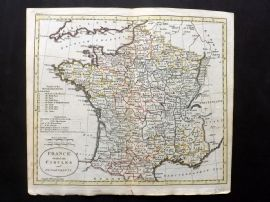 Guthrie 1788 Antique HCol Map. France divided into Circles and Departments